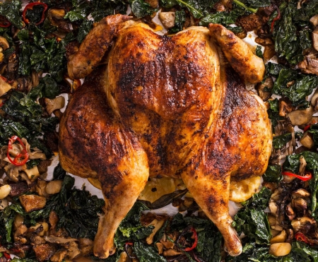 Feature-Spatchcock-Roast-Chicken-Lemon-Mushrooms-Garlic-Kale-Recipe-Cooking-Video